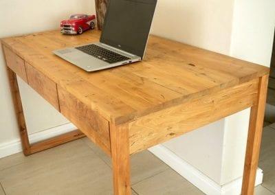 White Alder Desk with Three Drawers